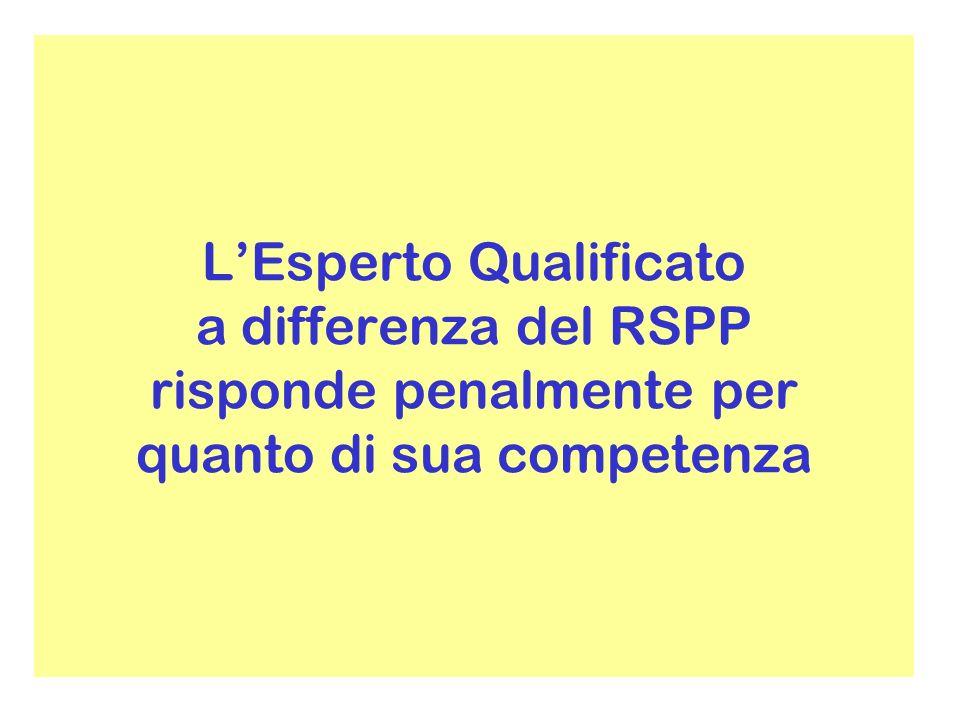 L'Esperto Qualificato a differenza del RSPP risponde penalmente per quanto di sua competenza