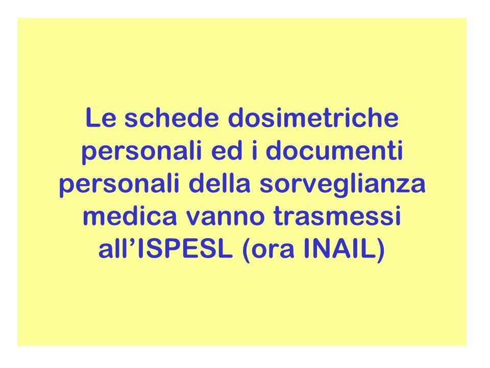 Le schede dosimetriche personali ed i documenti personali della sorveglianza medica vanno trasmessi all'ISPESL (ora INAIL)
