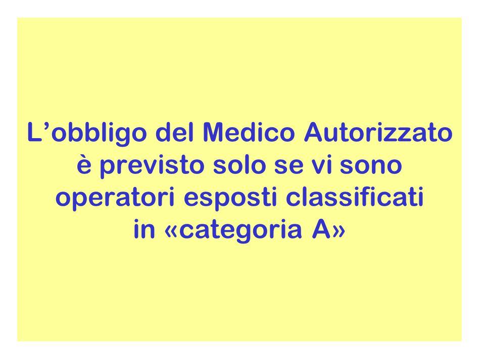 L'obbligo del Medico Autorizzato è previsto solo se vi sono operatori esposti classificati in «categoria A»