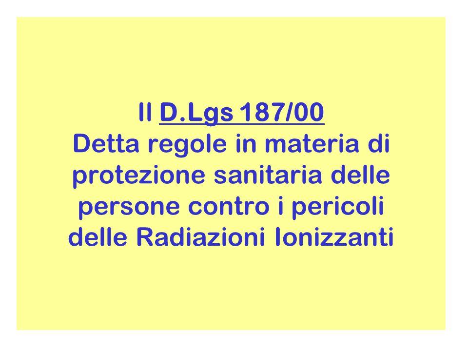 Il D.Lgs 187/00 Detta regole in materia di protezione sanitaria delle persone contro i pericoli delle Radiazioni Ionizzanti