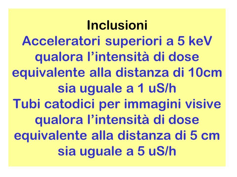 Inclusioni Acceleratori superiori a 5 keV qualora l'intensità di dose equivalente alla distanza di 10cm sia uguale a 1 uS/h Tubi catodici per immagini visive qualora l'intensità di dose equivalente alla distanza di 5 cm sia uguale a 5 uS/h
