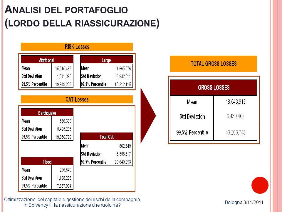 Analisi del portafoglio (lordo della riassicurazione)
