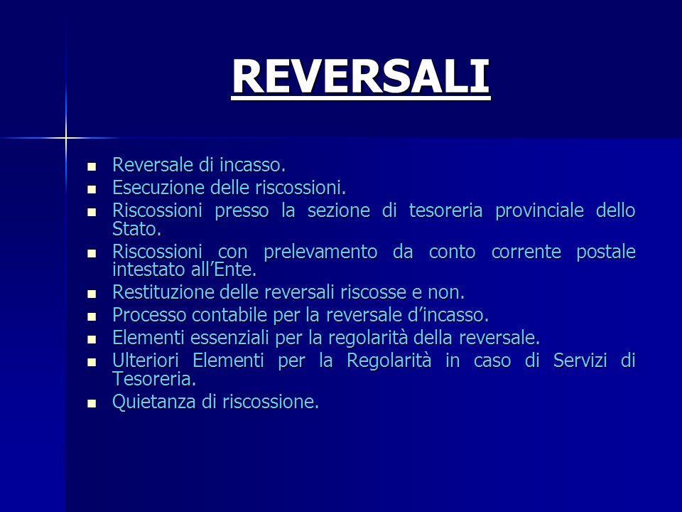 REVERSALI Reversale di incasso. Esecuzione delle riscossioni.