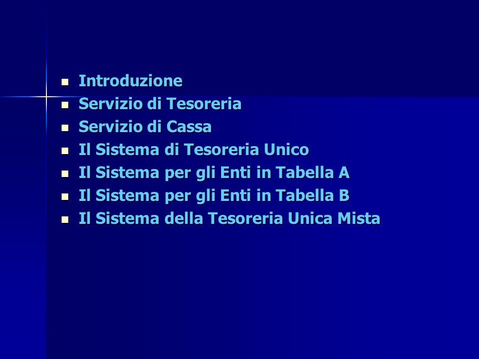 Introduzione Servizio di Tesoreria. Servizio di Cassa. Il Sistema di Tesoreria Unico. Il Sistema per gli Enti in Tabella A.
