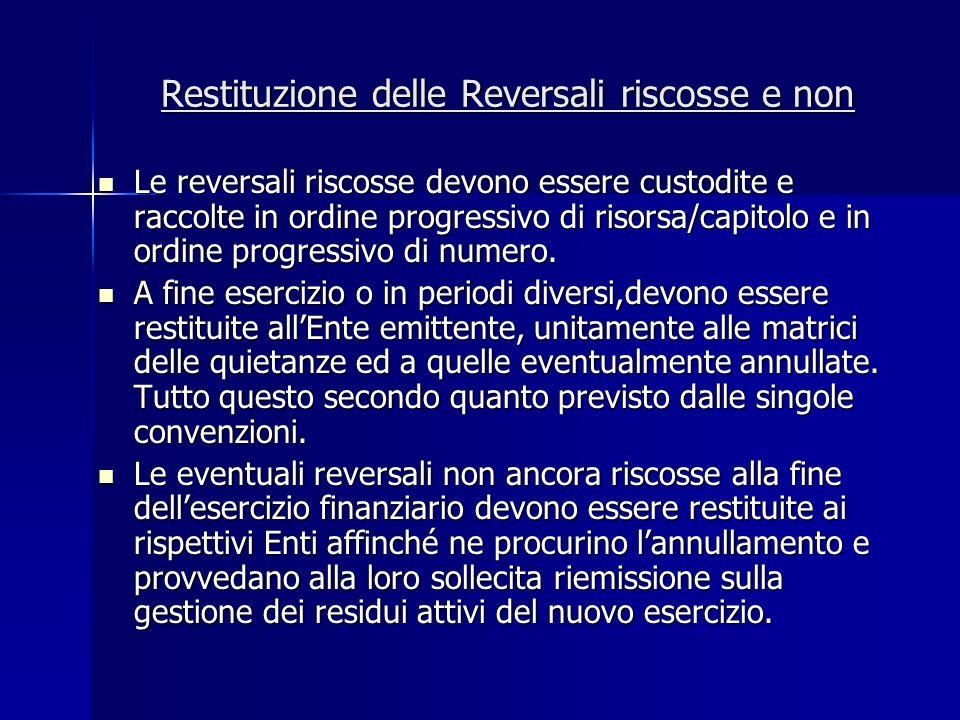 Restituzione delle Reversali riscosse e non