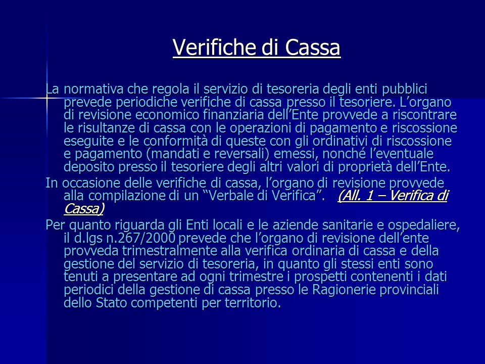 Verifiche di Cassa