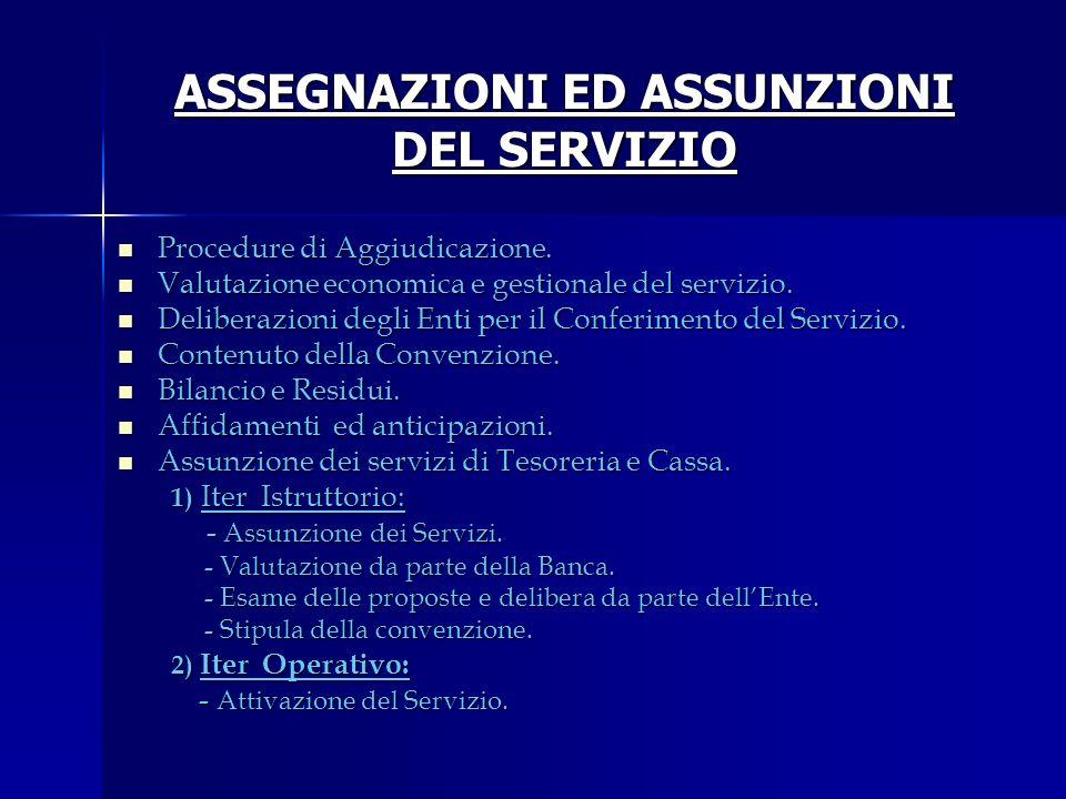 ASSEGNAZIONI ED ASSUNZIONI DEL SERVIZIO