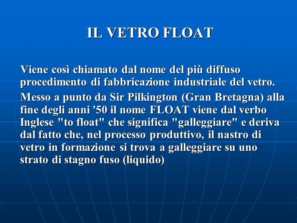 IL VETRO FLOAT Viene così chiamato dal nome del più diffuso procedimento di fabbricazione industriale del vetro.