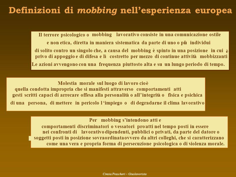 Definizioni di mobbing nell'esperienza europea
