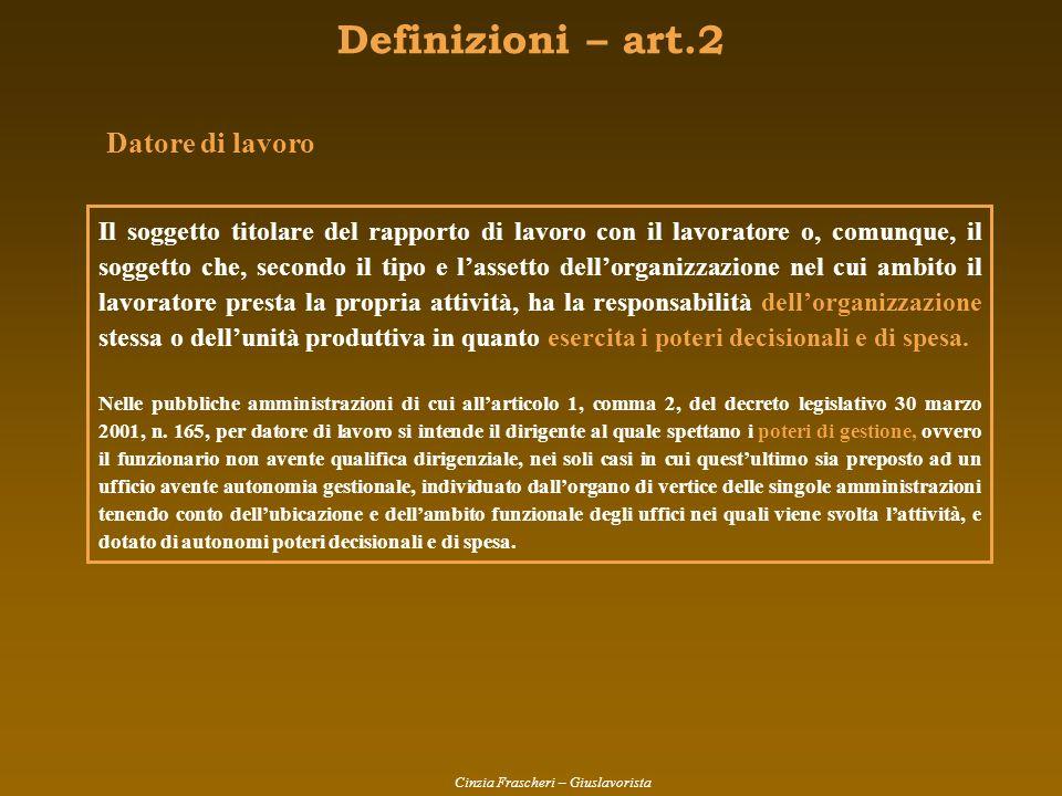 Definizioni – art.2 Datore di lavoro