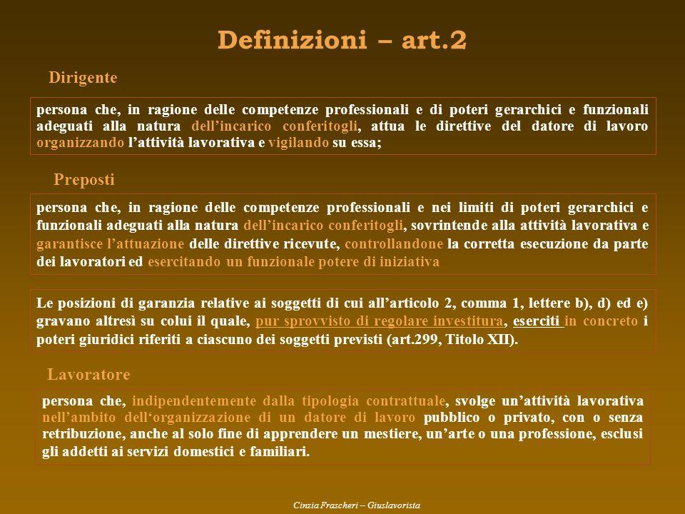 Definizioni – art.2 Dirigente Preposti Lavoratore