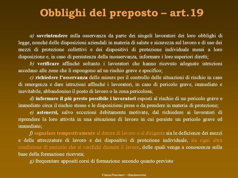 Obblighi del preposto – art.19