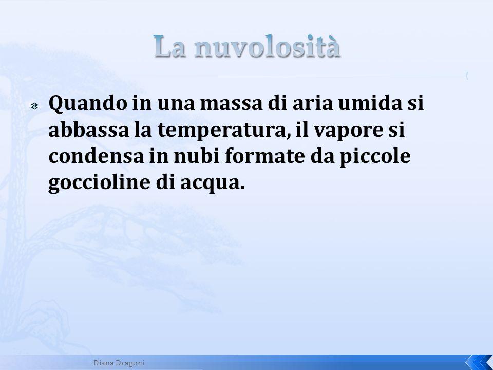 La nuvolositàQuando in una massa di aria umida si abbassa la temperatura, il vapore si condensa in nubi formate da piccole goccioline di acqua.