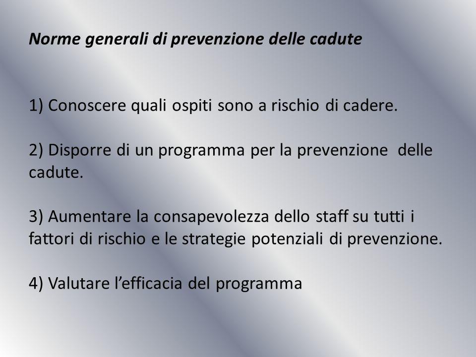 Norme generali di prevenzione delle cadute 1) Conoscere quali ospiti sono a rischio di cadere.