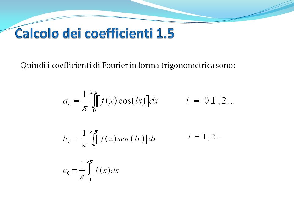 Calcolo dei coefficienti 1.5