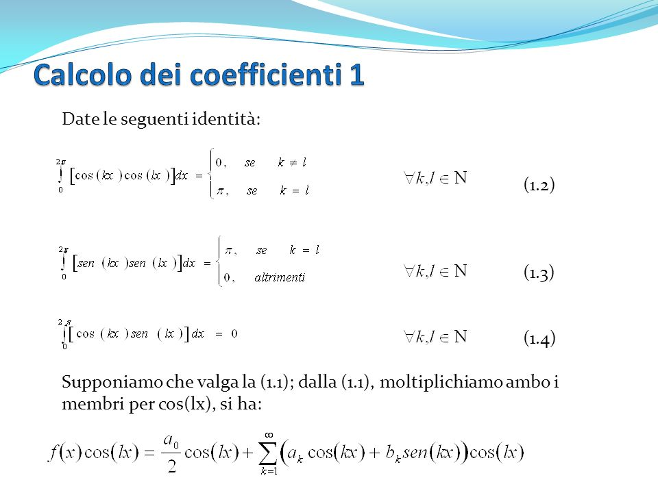 Calcolo dei coefficienti 1