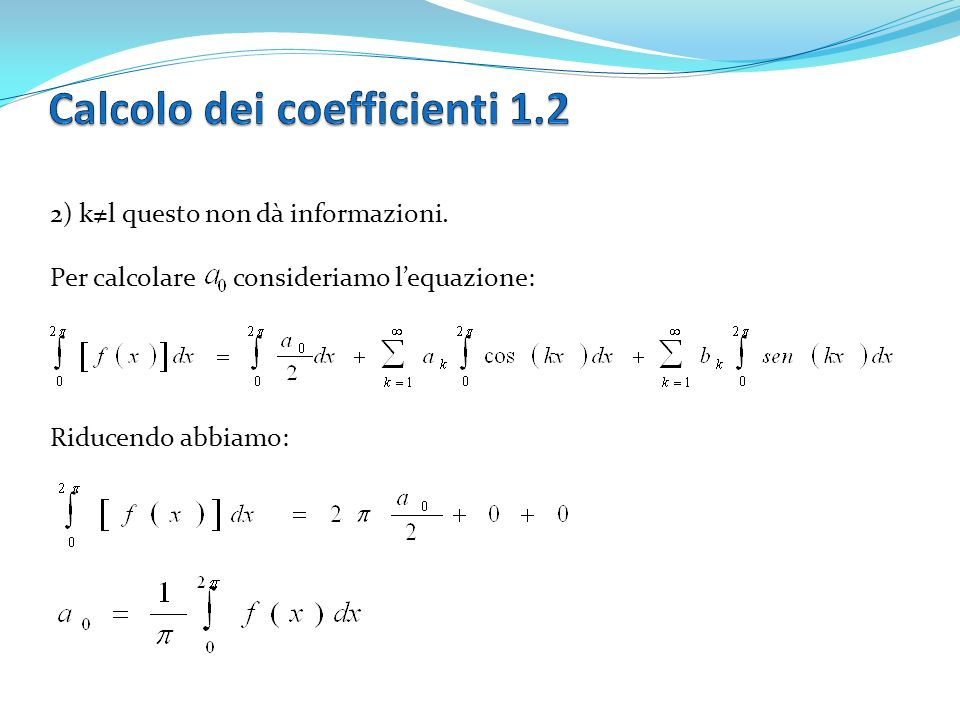Calcolo dei coefficienti 1.2
