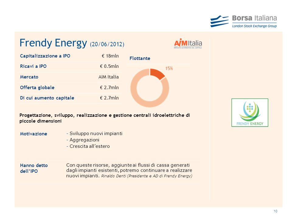 Frendy Energy (20/06/2012) Capitalizzazione a IPO € 18mln Ricavi a IPO