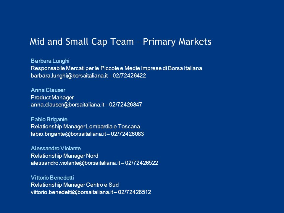 Mid and Small Cap Team – Primary Markets