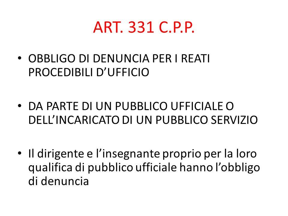 ART. 331 C.P.P. OBBLIGO DI DENUNCIA PER I REATI PROCEDIBILI D'UFFICIO
