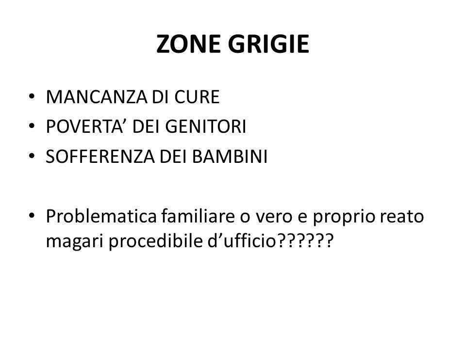 ZONE GRIGIE MANCANZA DI CURE POVERTA' DEI GENITORI