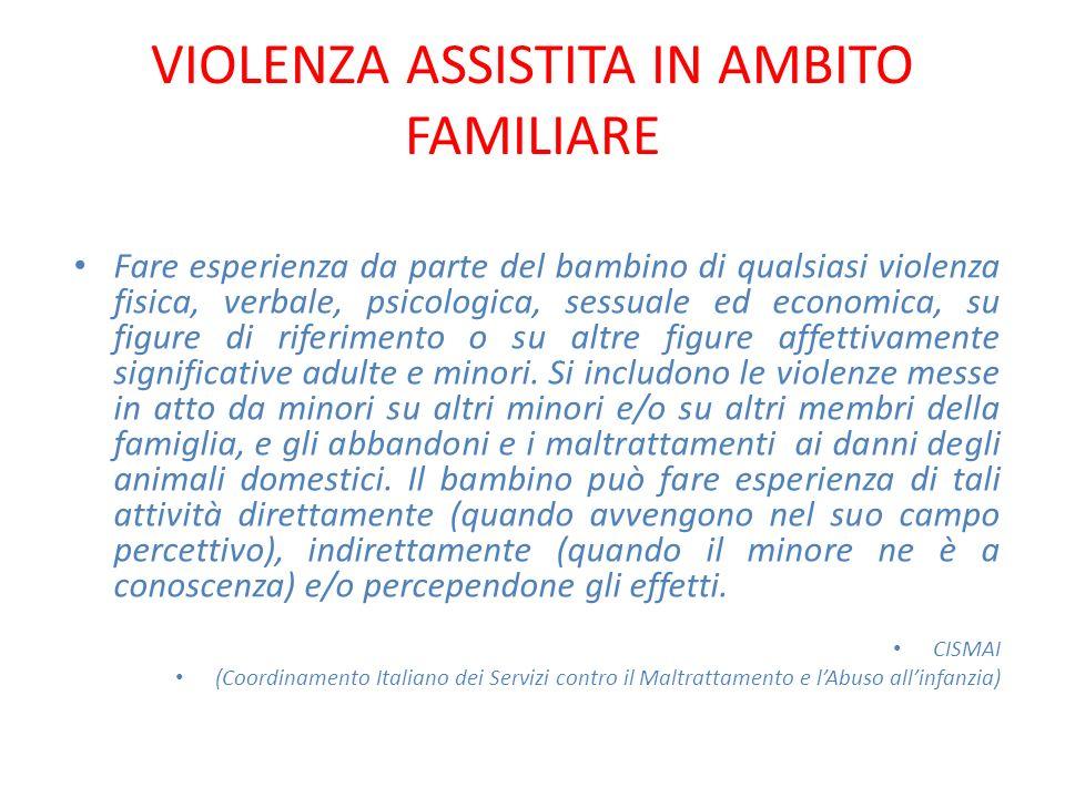 VIOLENZA ASSISTITA IN AMBITO FAMILIARE