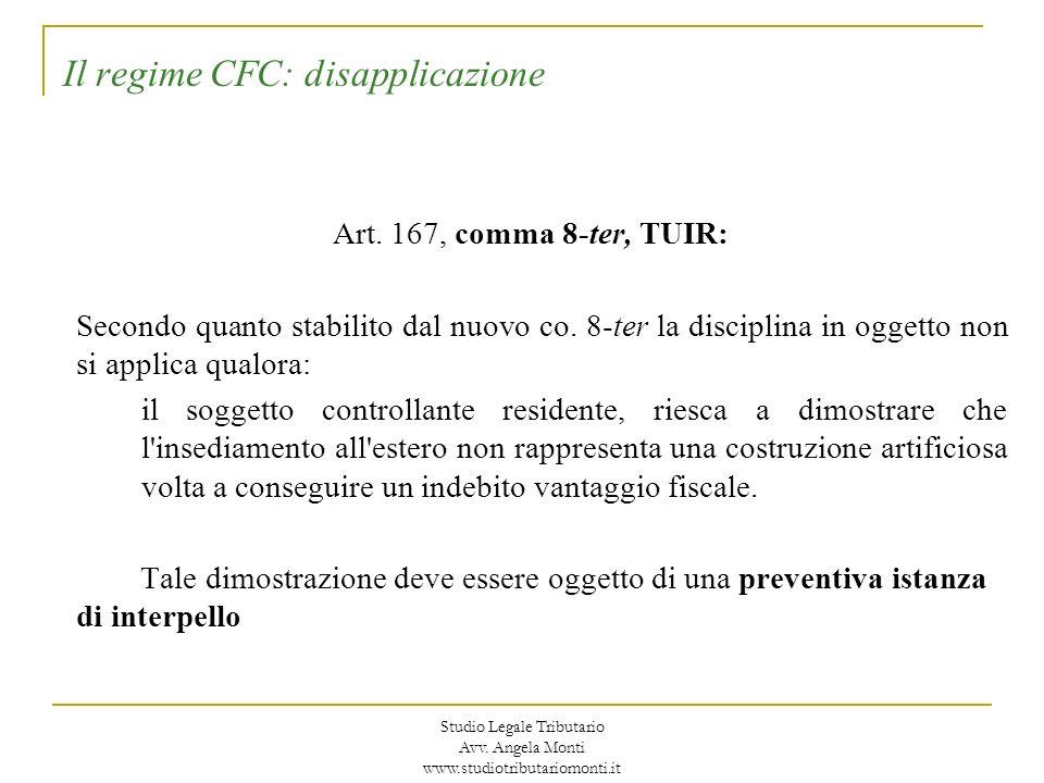 Il regime CFC: disapplicazione