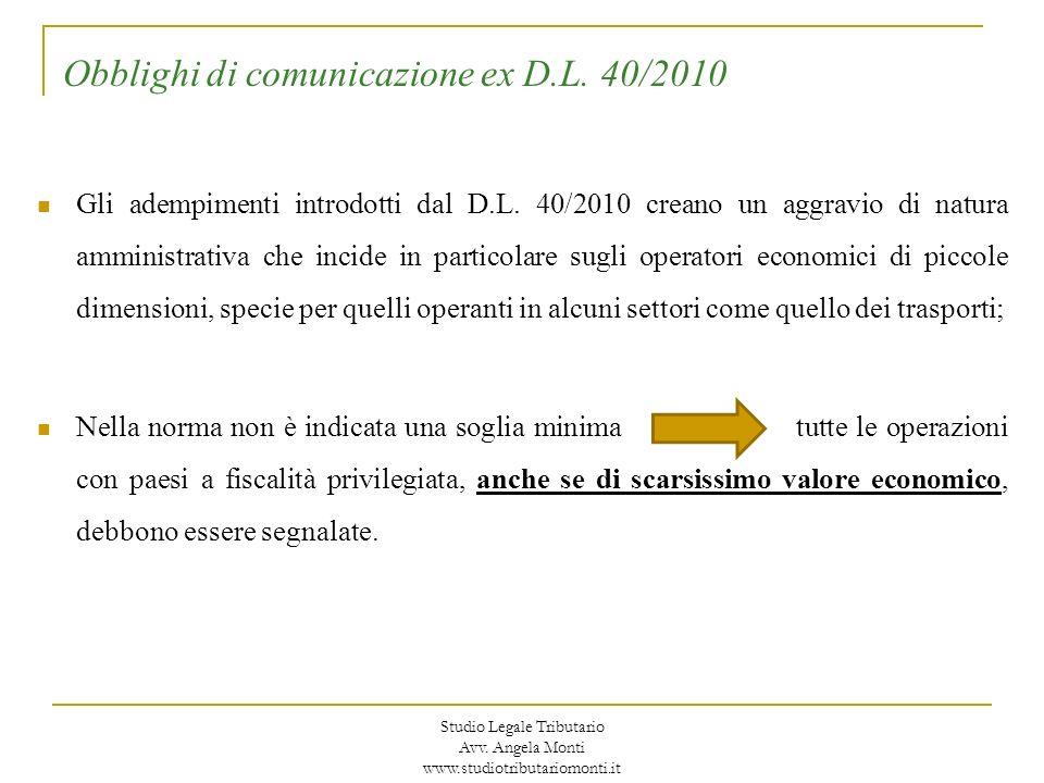 Obblighi di comunicazione ex D.L. 40/2010