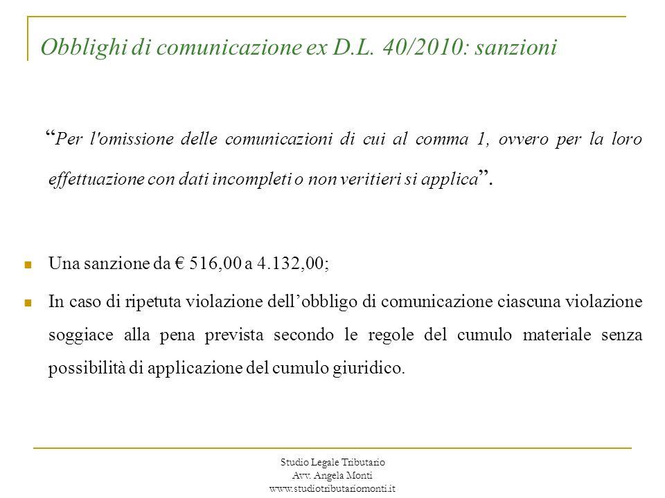 Obblighi di comunicazione ex D.L. 40/2010: sanzioni