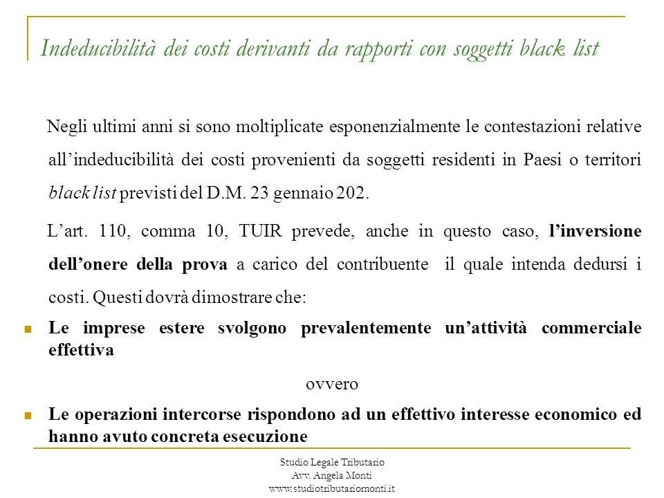 Indeducibilità dei costi derivanti da rapporti con soggetti black list