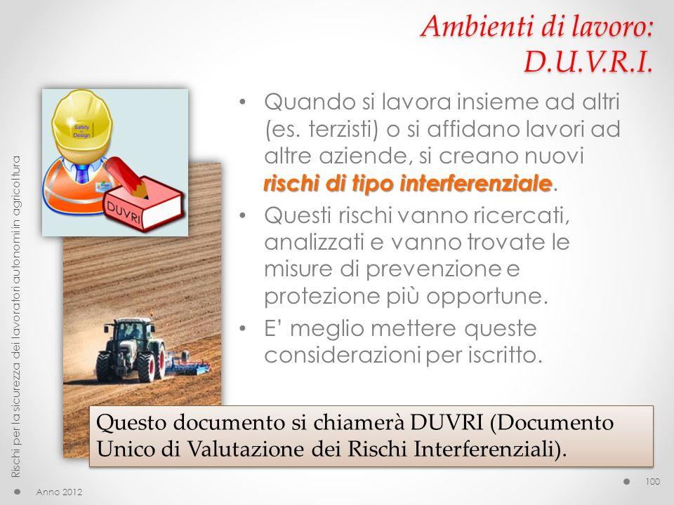 Ambienti di lavoro: D.U.V.R.I.