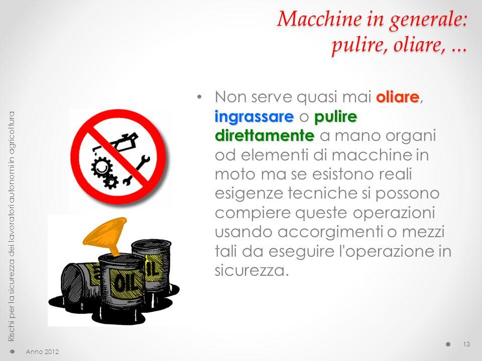 Macchine in generale: pulire, oliare, ...
