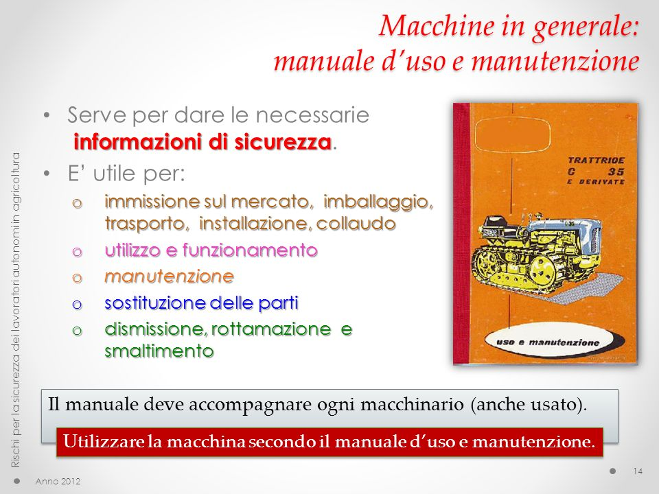 Macchine in generale: manuale d'uso e manutenzione