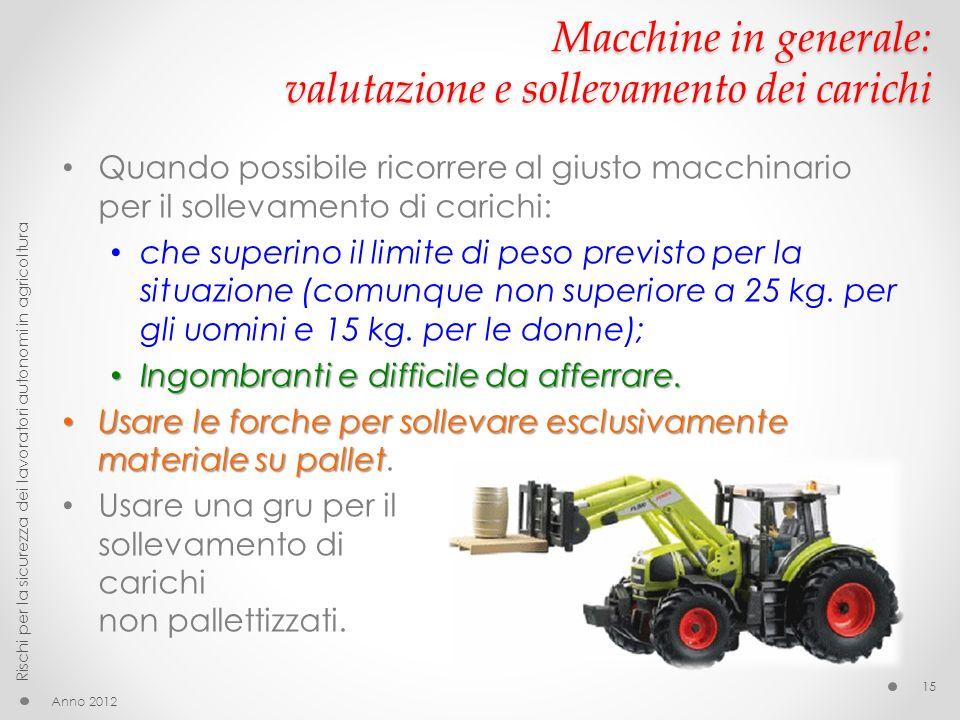 Macchine in generale: valutazione e sollevamento dei carichi