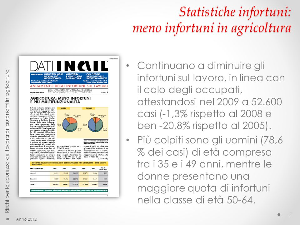 Statistiche infortuni: meno infortuni in agricoltura