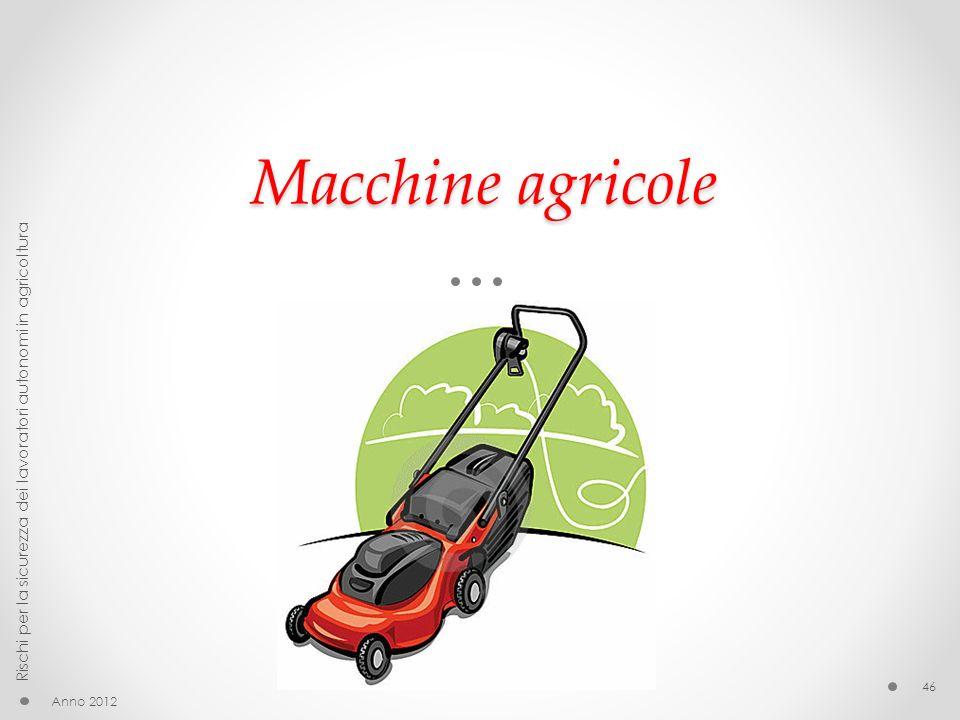 Macchine agricole Rischi per la sicurezza dei lavoratori autonomi in agricoltura Anno 2012