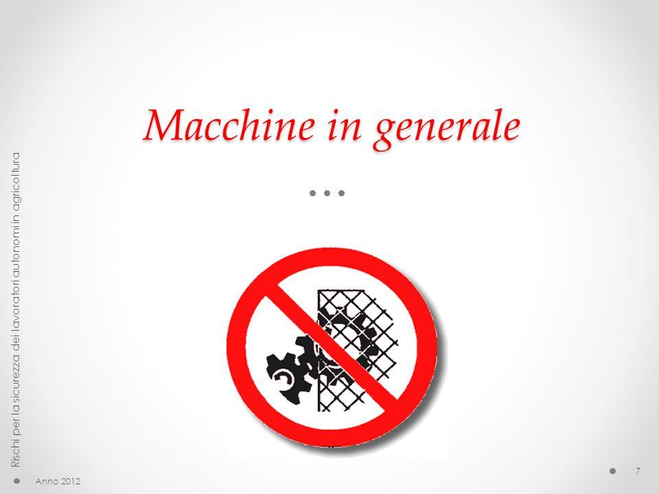 Macchine in generale Rischi per la sicurezza dei lavoratori autonomi in agricoltura Anno 2012