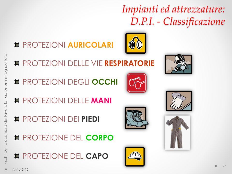 Impianti ed attrezzature: D.P.I. - Classificazione
