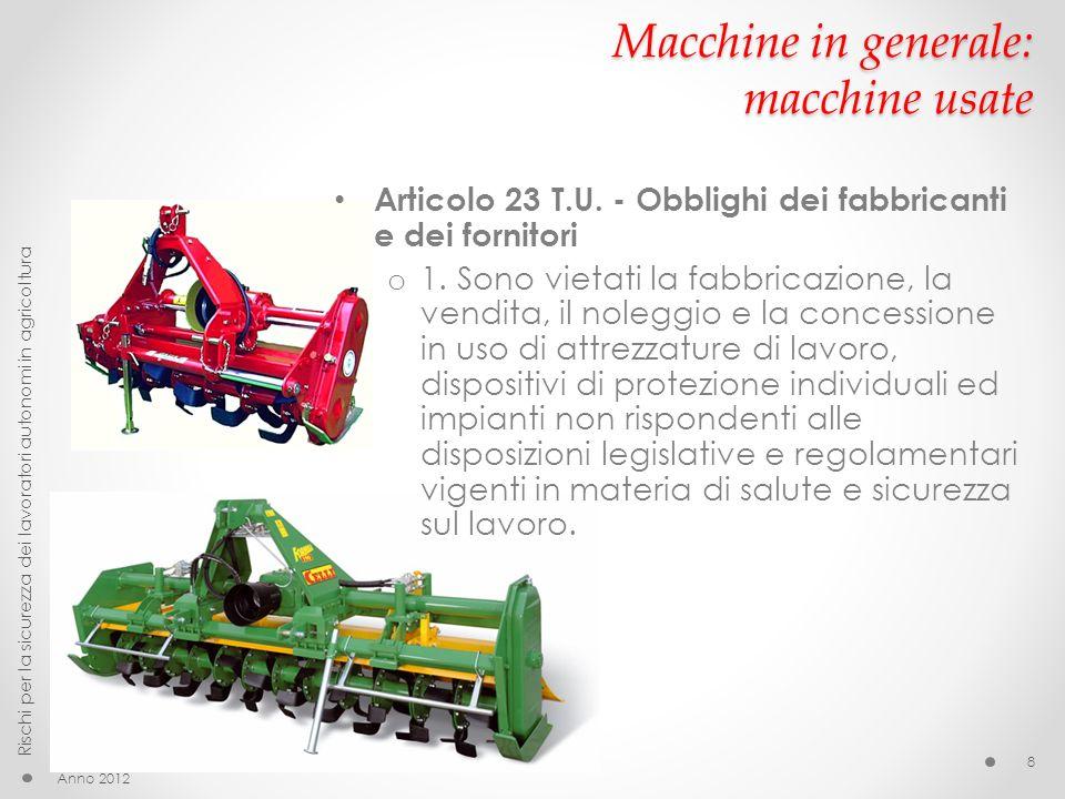 Macchine in generale: macchine usate