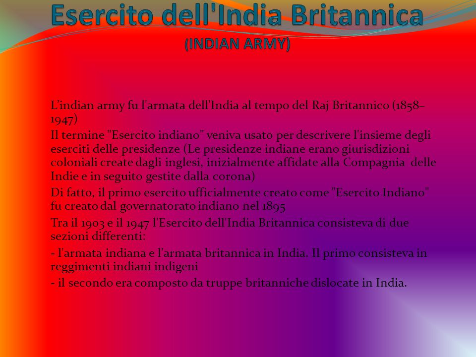 Esercito dell India Britannica (INDIAN ARMY)