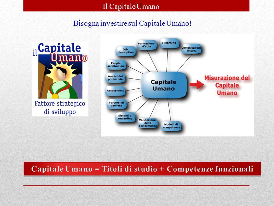 Capitale Umano = Titoli di studio + Competenze funzionali