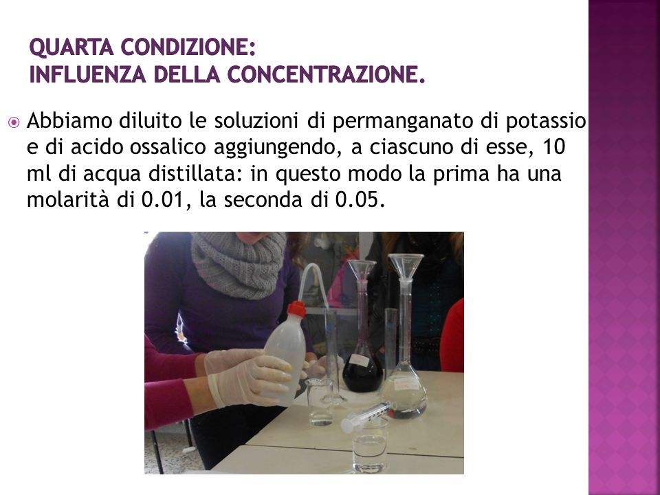 Quarta condizione: Influenza della concentrazione.