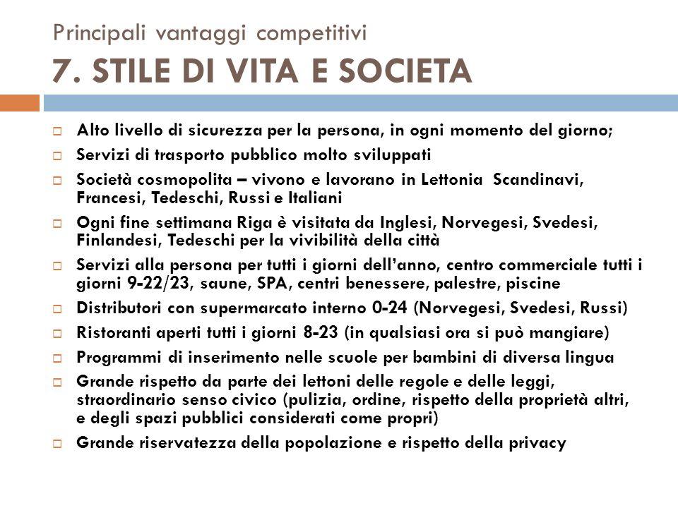 Principali vantaggi competitivi 7. STILE DI VITA E SOCIETA