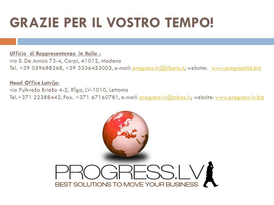 GRAZIE PER IL VOSTRO TEMPO. Ufficio di Rappresentanza in Italia : via E.
