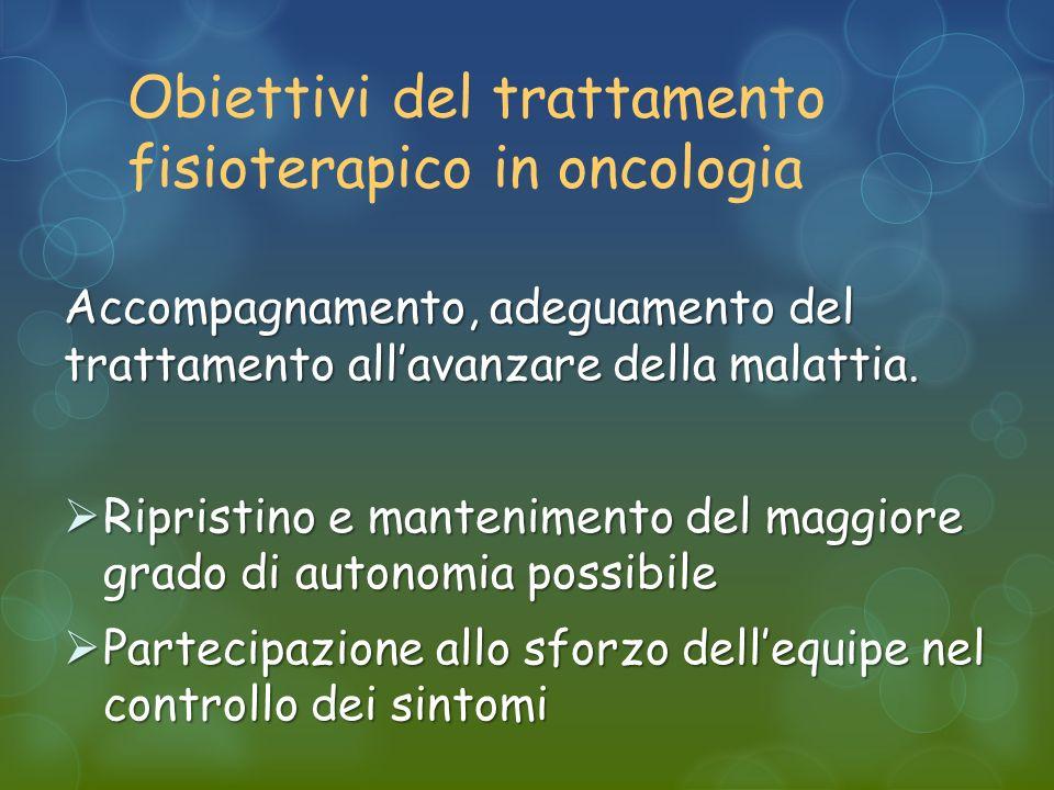 Obiettivi del trattamento fisioterapico in oncologia