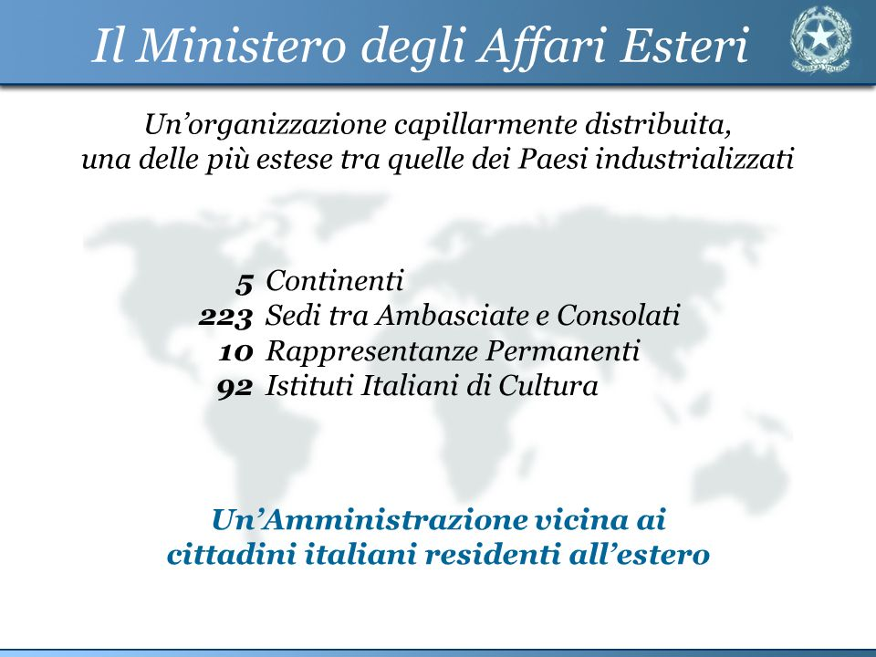 Il Ministero degli Affari Esteri