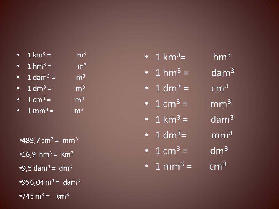 1 km3= hm3 1 hm3 = dam3 1 dm3 = cm3 1 cm3 = mm3 1 km3 = dam3