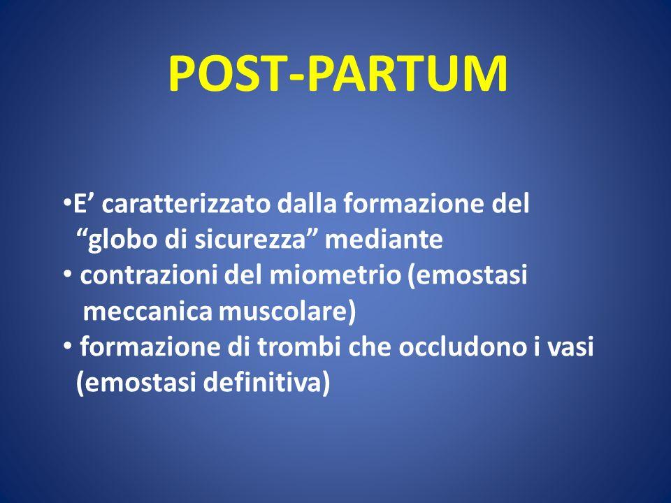 POST-PARTUM E' caratterizzato dalla formazione del
