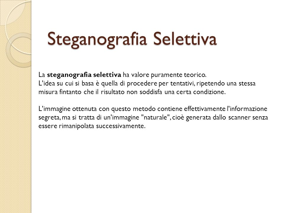 Steganografia Selettiva