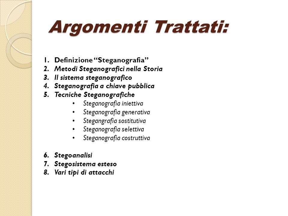 Argomenti Trattati: Definizione Steganografia